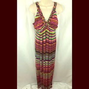Philosophy Multi-Color Stripped Maxi Dress Sz L